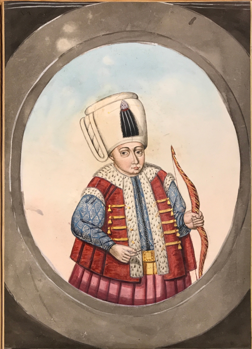 Painting of a younger man in a blue kaftan under a red vest with ermine trim and a white turban with a black tassel. The man in holding a bow in his left hand