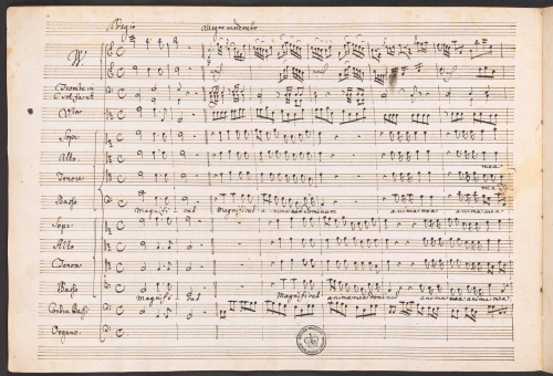 Opening page of J.C. Bach's Magnificat in C major in the composer's hand