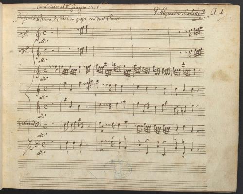 Opening page of Alessandro Scarlatti's Sinfonia Prima