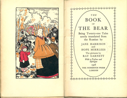Title page of The Book of the Bearwith an illustration