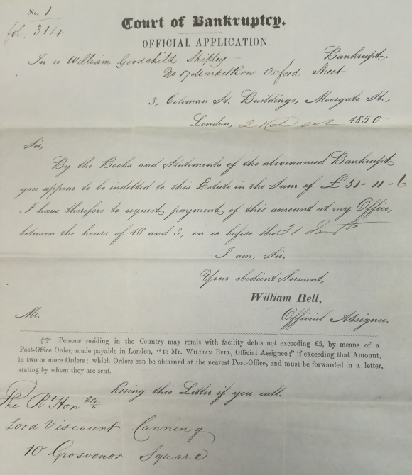 Bankruptcy papers for William Goodchild Shipley