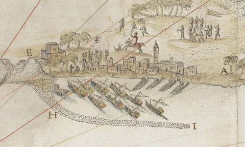 A detail from the Roteiro do Mar Roxo, showing a fleet moored at a port, the Portuguese army engaged with the forces of the Ottoman Empire.