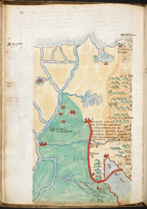 A page from the notebook of Sir Walter Raleigh, with a map of the Red Sea, painted in watercolour.