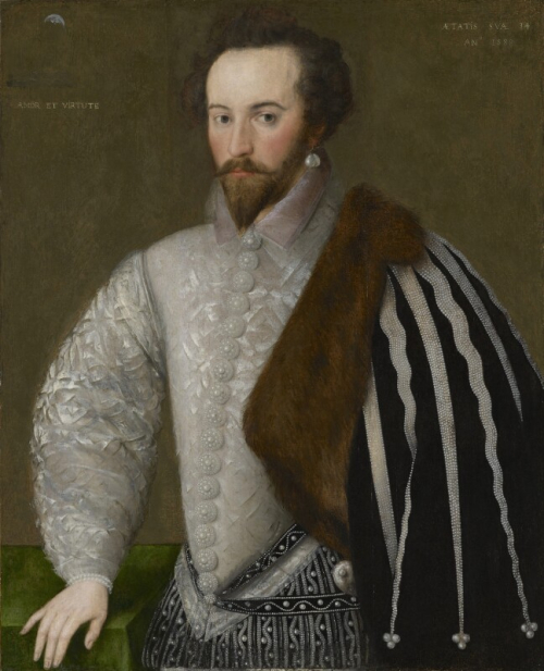 A 16th-century portrait of Sir Walter Raleigh, wearing a fur-lined cloak, decorated with pearls, with a crescent moon in the top left-hand corner.