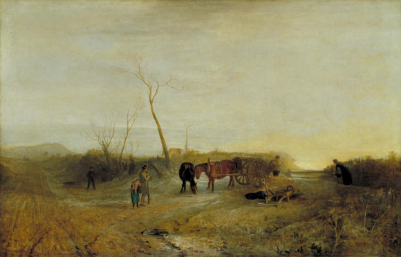 JMW Turner, Frosty Morning - figures of man and child standing near two horses