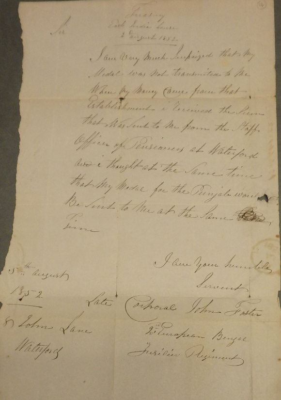 Letter from John Foster enquiring about his Punjab medal
