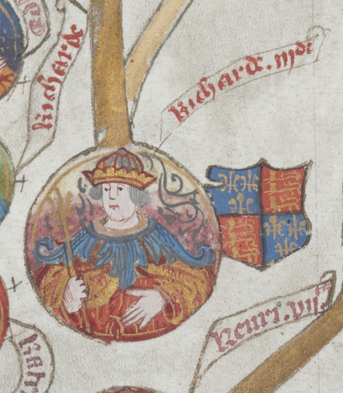 A manuscript portrait of King Richard III, wearing a crown and with the English coat of arms to his right