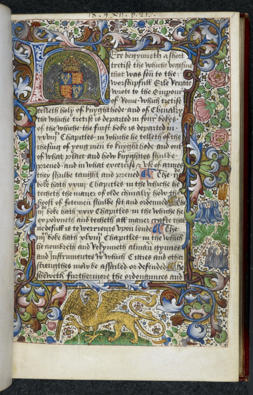 A page from an illuminated manuscript, with a decorated initial H containing two boars and the English coat of arms, a griffin in the lower border, and a decorated border enclosing the text