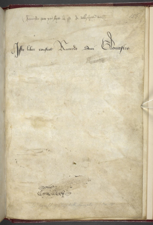 A manuscript page containing the ownership inscription of Richard, Duke of Gloucester