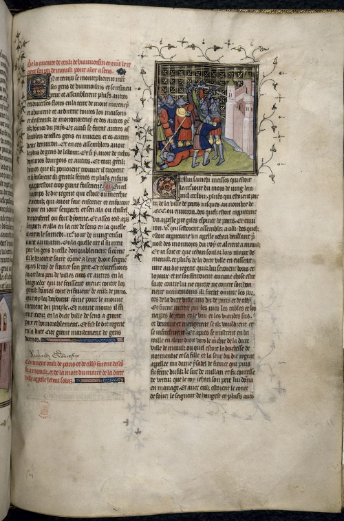 A page from an illuminated manuscript, in 2 columns, with a miniature of knights fighting in the right-hand column, and the name Richard Gloucester added part-way down the left-hand column