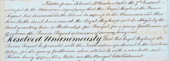 Prince Regent's request for a Bengal writership December 1812
