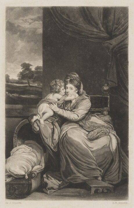 Portrait of Elizabeth Lamb, Viscountess Melbourne, seated, holding her baby son Peniston Lamb, whose feet are resting on  a cradle next to them
