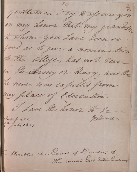 Peniston Lamb writer's petition 1817 - letter from Viscount Melbourne