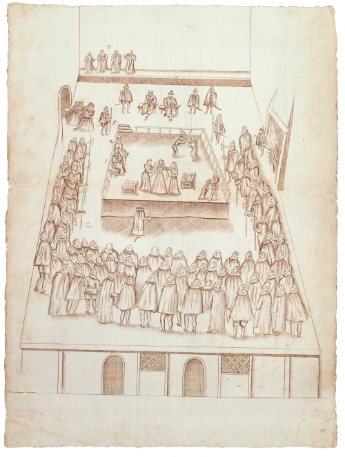 Robert Beale's eye-witness drawing of Mary, Queen of Scots' execution (1587)