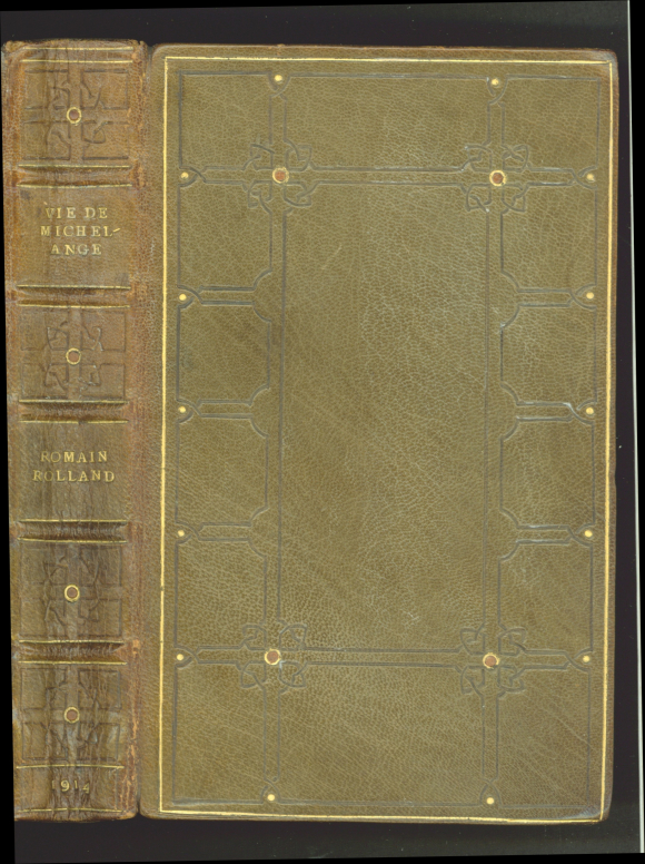 Spine and upper cover of Rolland's Vie de Michel-Ange by Hilda E. Henry
