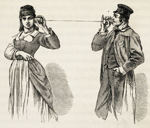 Demonstration of a string telephone with a man talking into a receptacle and a woman at the other end of the string with a receptacle held against her ear