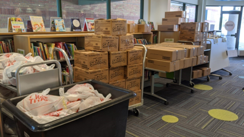 One of TPL's branches prepped for food bank service day