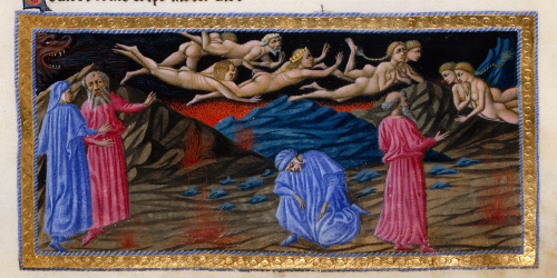 Dante and Virgil witness the whirlwind of lovers