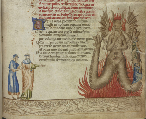 Dante and Virgil encounter Satan, with traitors frozen in a lake of ice below