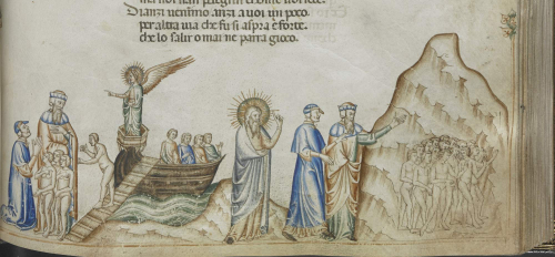 Dante and Virgil follow a group of souls towards the mountain of Purgatory