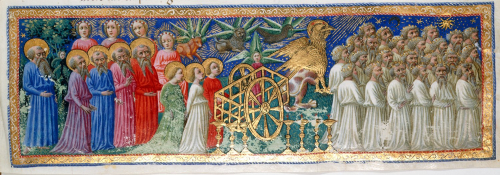 The heavenly procession of biblical figures and griffins pulling a chariot
