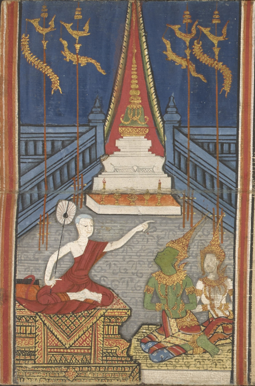 The Chulamani Chedi with a red aura to highlight the fact that it is housing relics of the Buddha. Illustration from a Phra Malai manuscript, Central Thailand, 1882