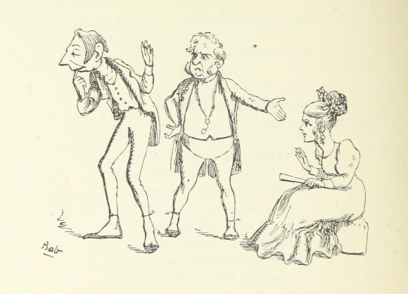 Cartoon entitled 'The Modest Couple' - a man turning away from a seated woman, with another older, cross-looking man between them gesturing towards her.