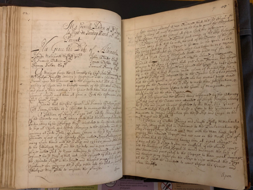 A bound volume of seventeenth-century manuscripts is open at the Minutes of a Meeting of the Council of Jamaica, 13 March 1688, Sloane MS 1599, v26-r27.
