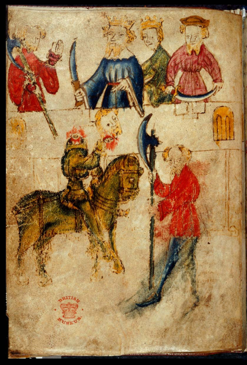 An illustration from the manuscript of Sir Gawain and the Green Knight, showing in the foreground the Green Knight on horseback holding his severed head before Sir Gawain, who is wearing a red tunic. Above, Gawain holding his axe stands to the left of King Arthur and Queen Guinevere, wearing crowns, and a third figure on the right.