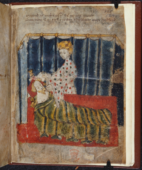 An illustration from the manuscript of Sir Gawain and the Green Knight, showing Bertilak's lady standing before a sleeping Gawain
