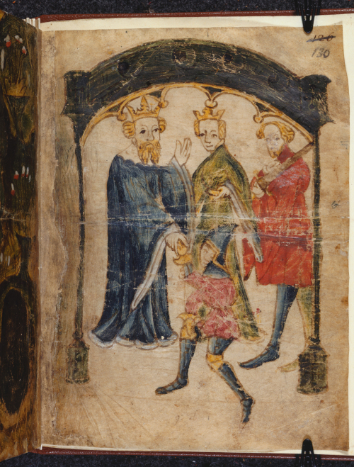 An illustration from the manuscript of Sir Gawain and the Green Knight, showing King Arthur, Queen Guinevere and a third figure standing before a kneeling Sir Gawain