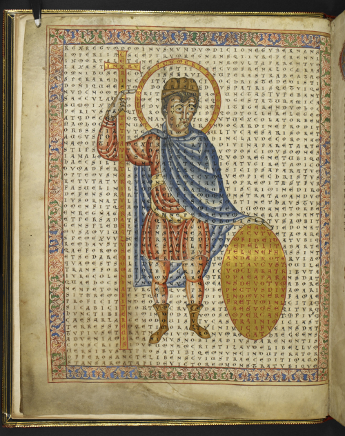 Figured poem with an image of Emperor Louis the Pious