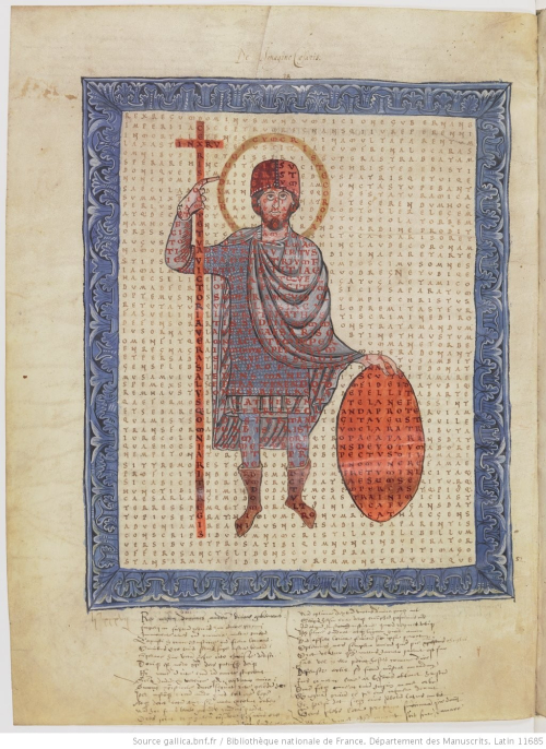 Figured poem with an image of Emperor Louis the Pious from BnF MS Lat. 11685
