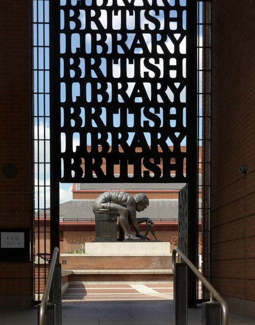 British Library gates at St Pancras and Isaac Newton statue in background