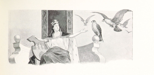 Drawing of a crowned figure and birds