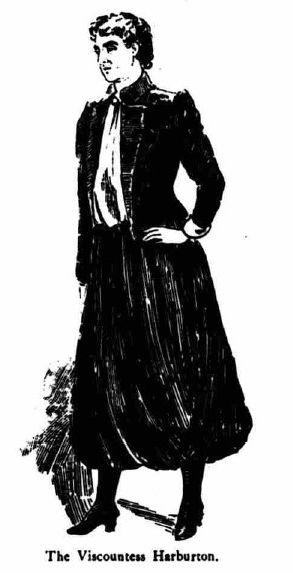 Viscountess Harberton clothed in Rational Dress - black and white image from a newspaper showing an outfit described as a navy blue jacket and skirt with a white silk vest.