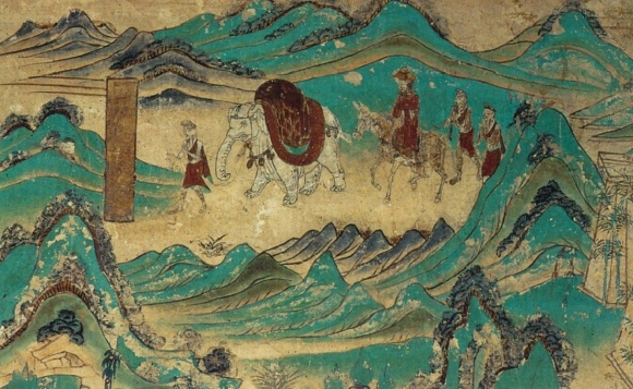 Xuanzang_returned_from_India._Dunhuang_mural _Cave_103._High_Tang_period_(712-765).