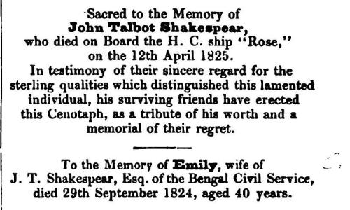Memorial inscriptions for John Talbot and Emily Shakespear from South Park Street Cemetery