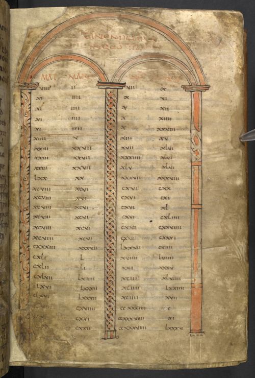 A decorated page from the Bodmin Gospels containing an arch with three columns, painted in red, and the text of the canon tables