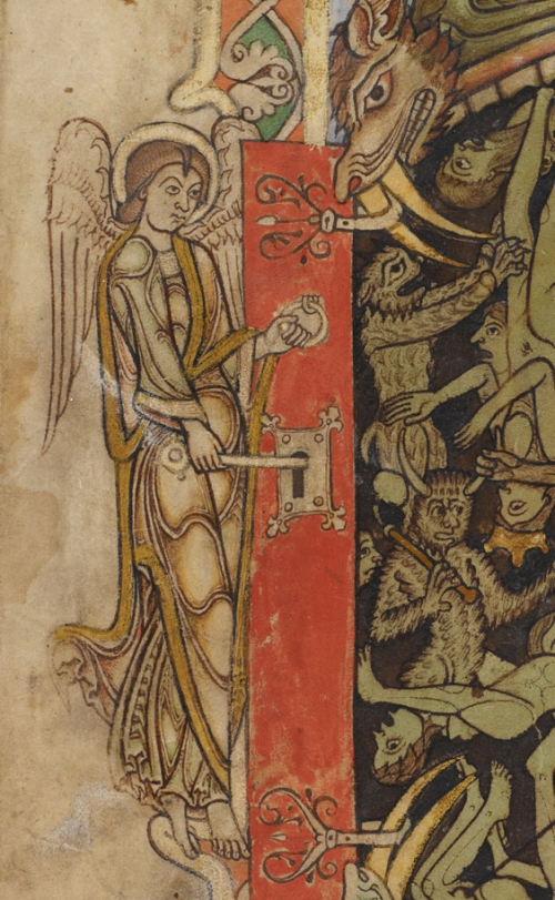 A detail from the Winchester Psalter, showing an archangel locking the door to Hell, during the Last Judgement.