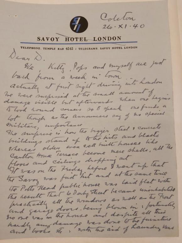 Letter from Rupert D'Oyly Carte to Lady Dorothy D'Oyly Carte  26 November 1940