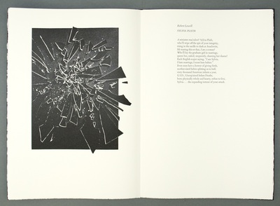 An open book. On the left hand page a black and white lithograph appears to depict shards of glass flying towards the reader; on the right is a poem by Diane Ackerman.