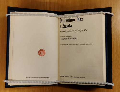 Title page of the bilingual Nahuatl-Spanish edition of Luz Jiménez. De Porfirio Díaz a Zapata: memoria náhuatl de Milpa Alta, 1968 (BL shelfmark: X.709/29934)