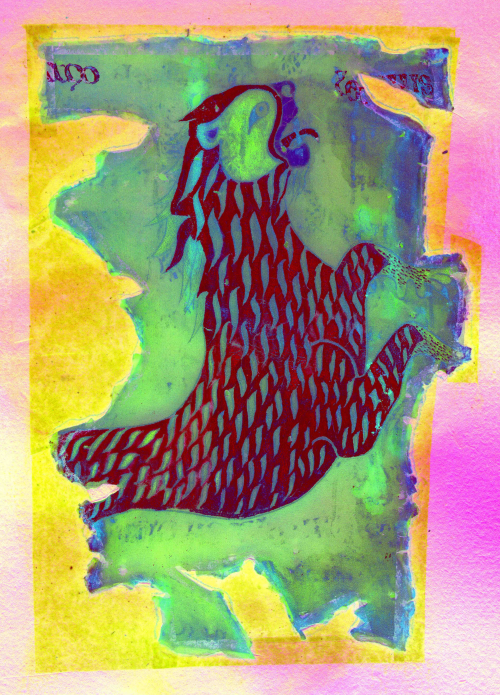 Medieval illustration of the lion of St Mark in vibrant colours, enhanced by multispectral imaging