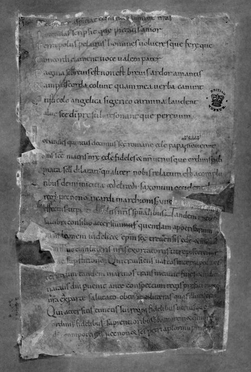 A page from the Alcuin letter-book, with the text recovered through multispectral imaging