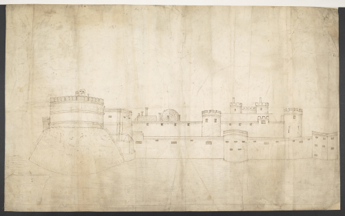 A pen-and-ink drawing of the castle at Guînes, showing its towers and ramparts