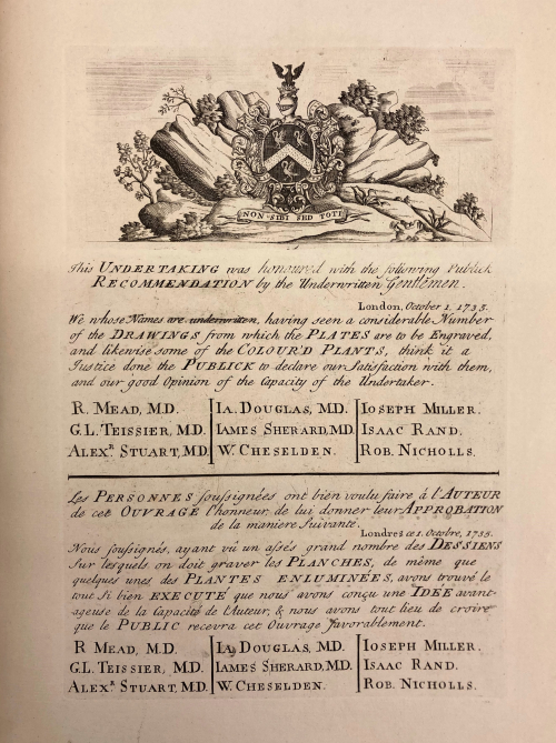 Page of Publick Endorsements from A Curious Herbal