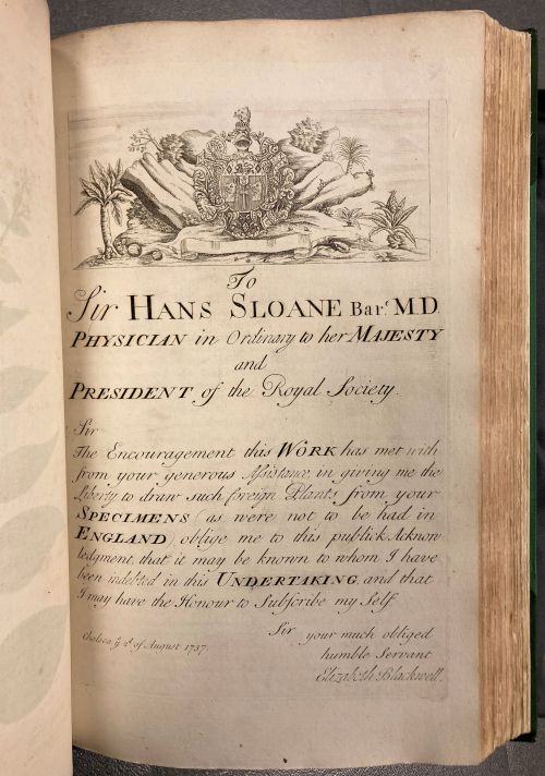 Elizabeth Blackwell's dedication to Sloane in A Curious Herbal