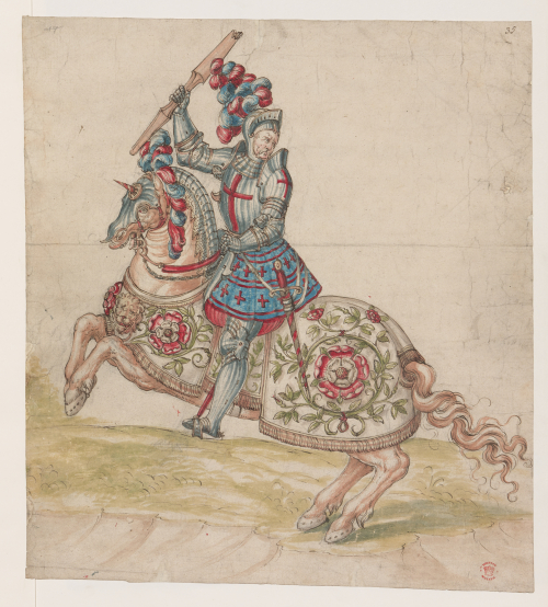 A coloured drawing of a man wearing armour and carrying a lance, sitting upon a horse
