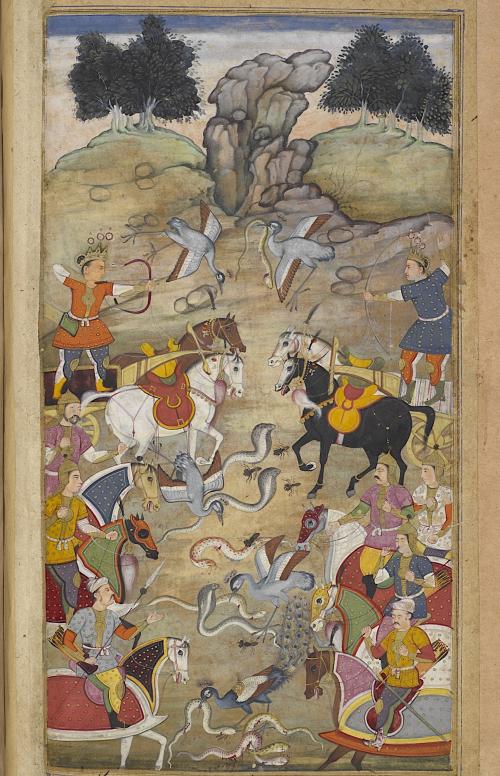 Battle between Babhruvahana and the snakes (Or 12076  f. 71v)